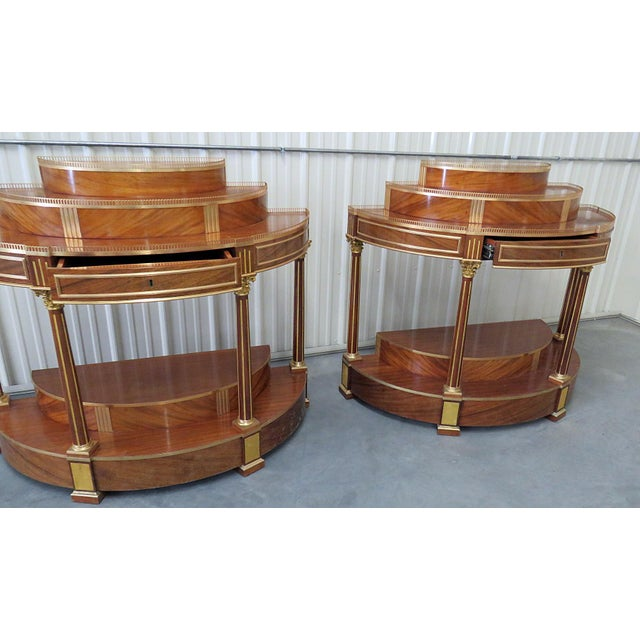 Pair of Russian Regency Style Demilune Consoles For Sale - Image 4 of 8