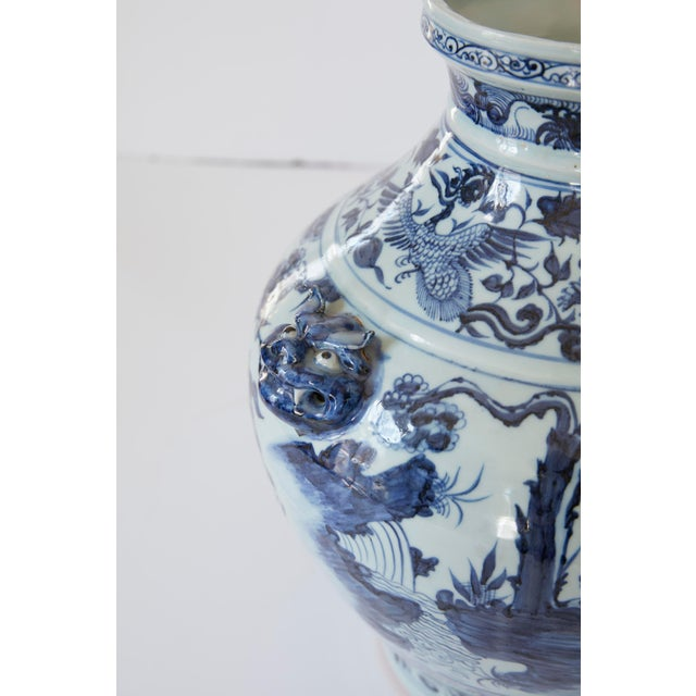 Mid 20th Century Vintage Mid-Century Ming Style Chinese Blue and White Vase For Sale - Image 5 of 7