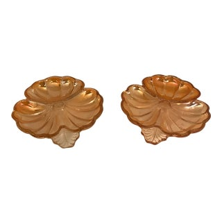 1970s Contemporary Fenton Marigold Harvest Carnival Glass Nut Bowls - a Pair For Sale
