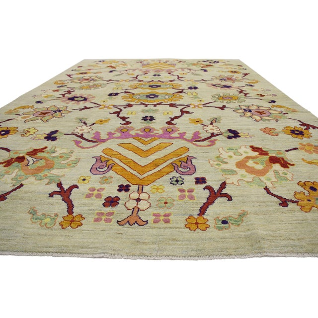 Colorful Turkish Oushak Rug With Contemporary Hollywood Glamour Style, 10'04 X 15'08 For Sale - Image 4 of 6