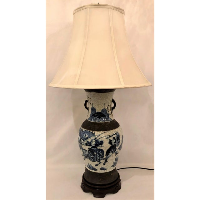 """Asian Antique 19th Century Chinese """"Warring States"""" Porcelain Lamp. For Sale - Image 3 of 3"""