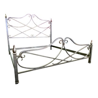 Thomasville Furniture Paris Etienne King Size Distressed Iron Metal Bed For Sale