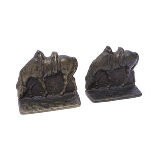 Vintage Bronze Grazing Horse Bookends - a Pair