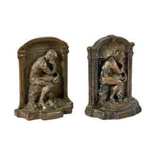 1920's Cast Iron 'The Thinker' Bookends - a Pair For Sale