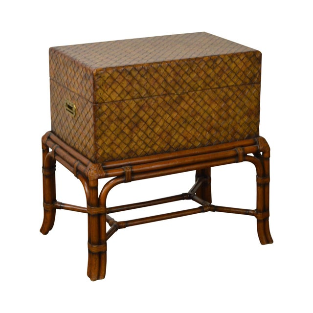 Maitland Smith Woven Leather Lidded Chest on Rattan Base For Sale - Image 11 of 11
