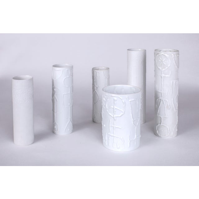 Contemporary 1962 Vintage Cuno Fischer for Rosenthal German White Porcelain Vases With Abstract Relief - Set of 6 For Sale - Image 3 of 6