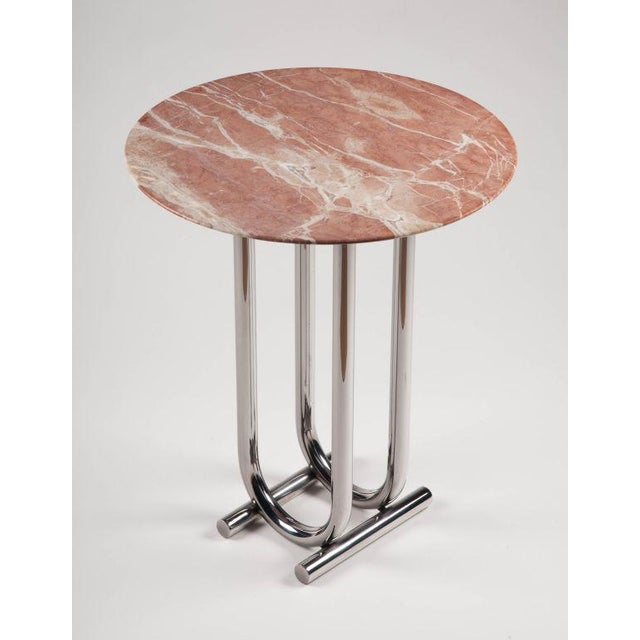 Jay Spectre Rose Marble and Chrome Side Table by Jay Spectre For Sale - Image 4 of 6