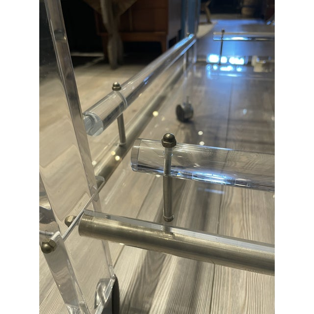 Transparent Hollis Jones Two-Tier Lucite Bar Cart With Removable Trays For Sale - Image 8 of 11