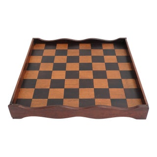 English Double Sided Chess Checkers Game Board For Sale