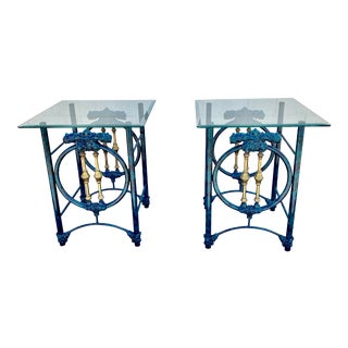 Gothic Turquoise Glazed Marble Lacquer Gilt Iron Sculptural Brass Tables - a Pair For Sale