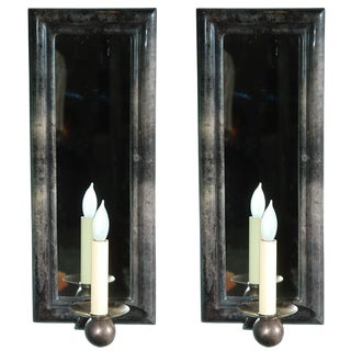 Pair of Parchment Mirrored Wall Sconces For Sale