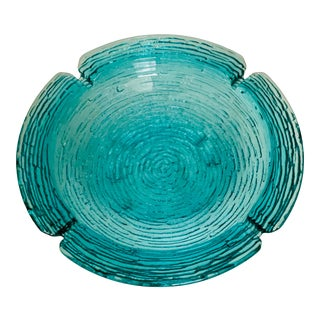 Vintage Turquoise Glass Mid-Century Modern Ashtray For Sale