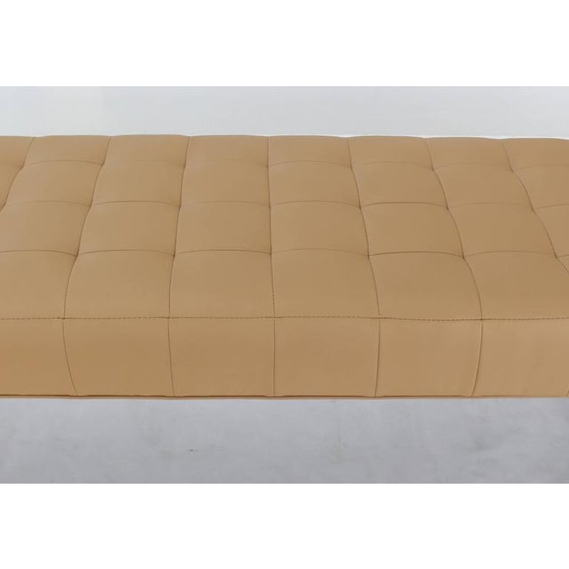 Textile Tufted Upholstery Long Bench on Chrome Cylinder Legs Daybed For Sale - Image 7 of 7