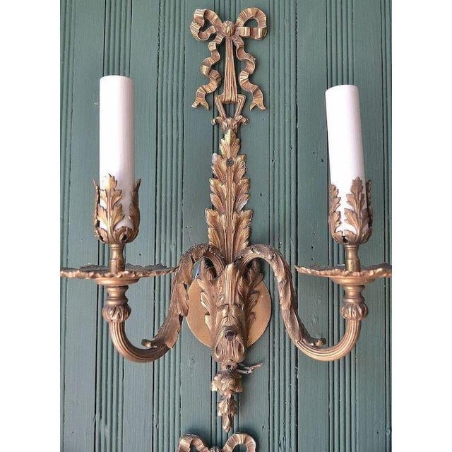 French Louis XVI Dore Bronze Wall Sconces - Set of 4 For Sale - Image 4 of 11