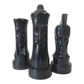 1940s Peter Ganine Black Ceramic Chess Pieces Trio - Set of 3 For Sale