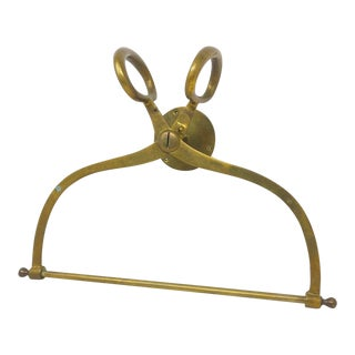 Vintage Solid Brass Equestrian Style Guest Towel Wall Mounted Rack For Sale