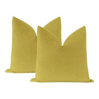 "22"" Chartreuse Velvet Pillows - a Pair For Sale"