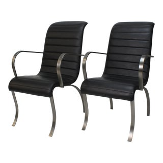 1990s Vintage Milo Baughman for Design Institute of America Leather and Metal Armchairs - A Pair For Sale