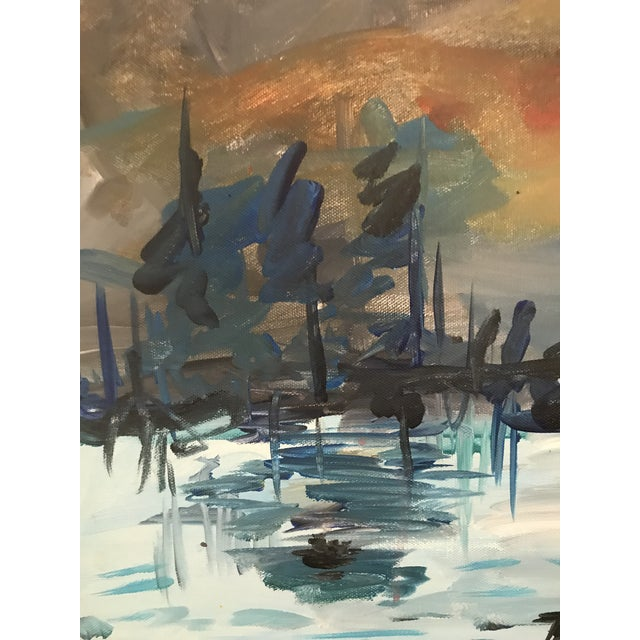 """Abstract Art Student's Copy of Monet's """"Impression:Sunrise"""" 1980s For Sale - Image 3 of 8"""