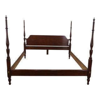 Chippendale Henkel Harris Solid Cherry King Poster Bedframe For Sale