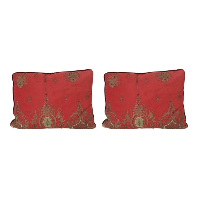 Pair of Antique Turkish Ottoman Silk Pillows With Metallic Threads For Sale