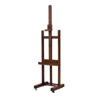 English Artist's Display or Floor Easel of Oak With Adjustable Tray For Sale