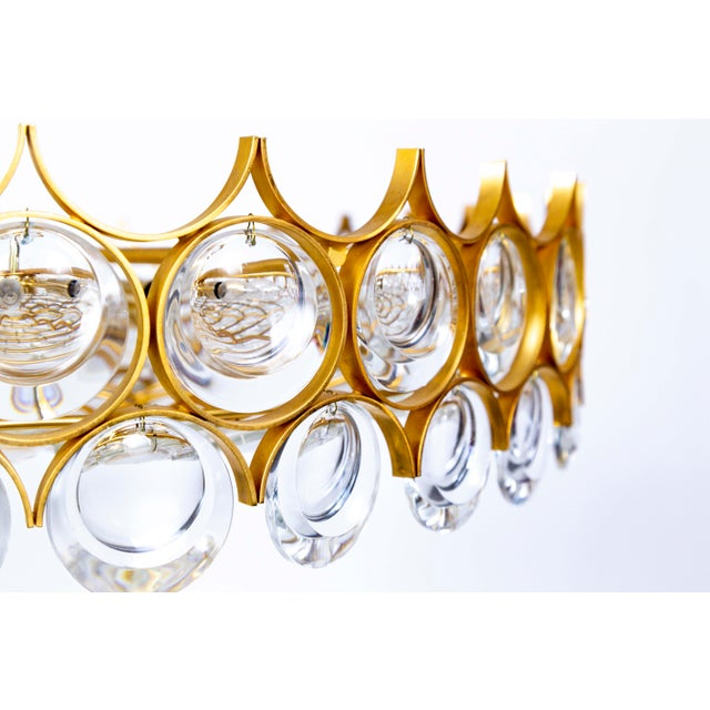 Large Circular Palwa Gilt Brass and Optical Lens Crystal Chandelier (2 Available) For Sale In San Francisco - Image 6 of 12