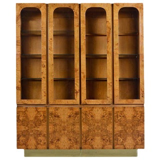 Milo Baughman Style China Hutch Cabinet Burl and Brass Hollywood Regency by Lane For Sale