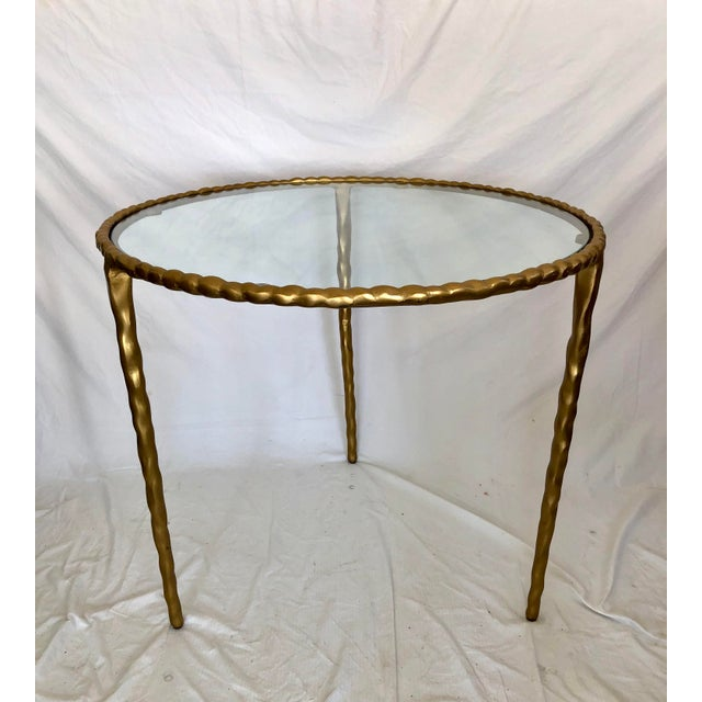 Jamie Young Glass Top Gold Table For Sale In Los Angeles - Image 6 of 6