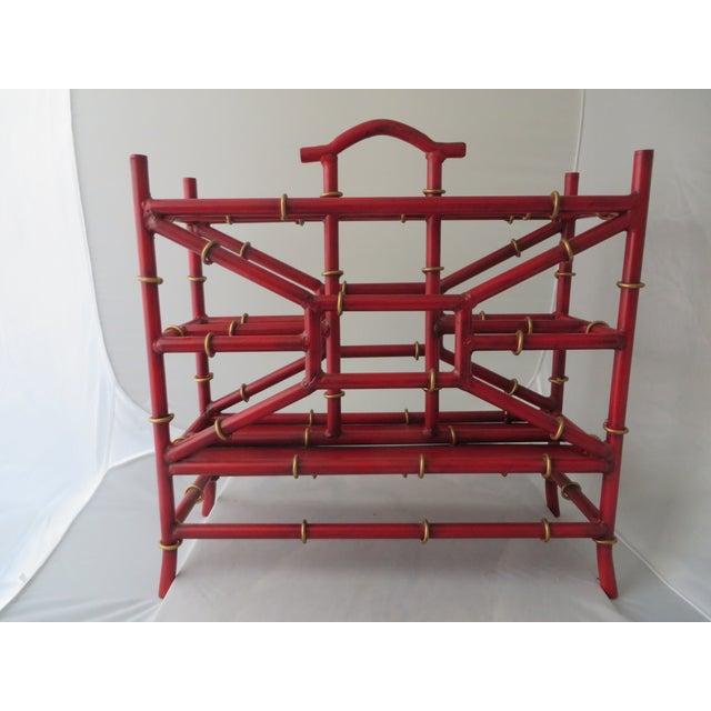 Red Metal Bamboo Magazine Rack - Image 2 of 3