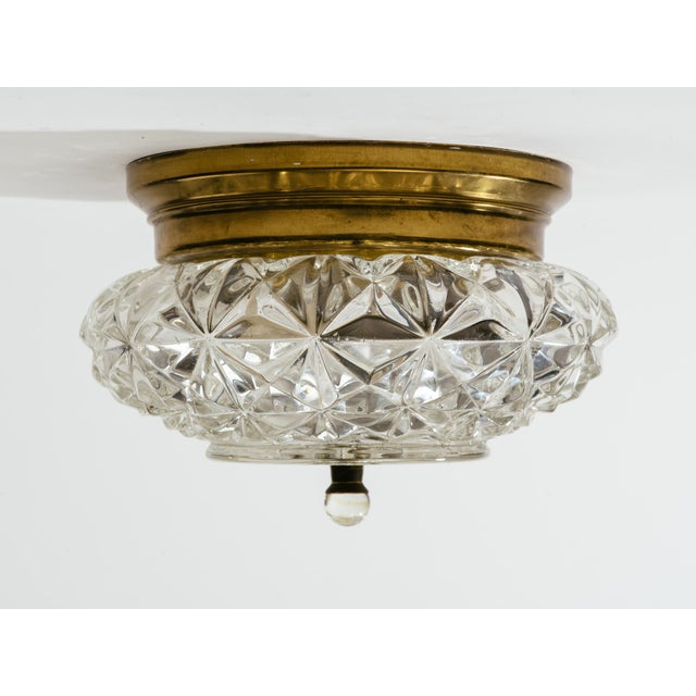 Mid-Century Modern German Glass and Brass Flush Mount Chandeliers - a Pair For Sale - Image 3 of 9