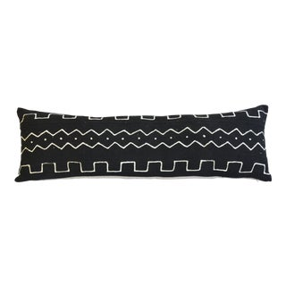 "34"" Long African Mud-Cloth Lumbar Bolster Feather/Down Textile Pillow For Sale"