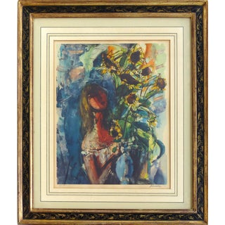 Llithograph by Sigmund Menkes Titled Girl With Sunflowers, Signed & Numbered For Sale