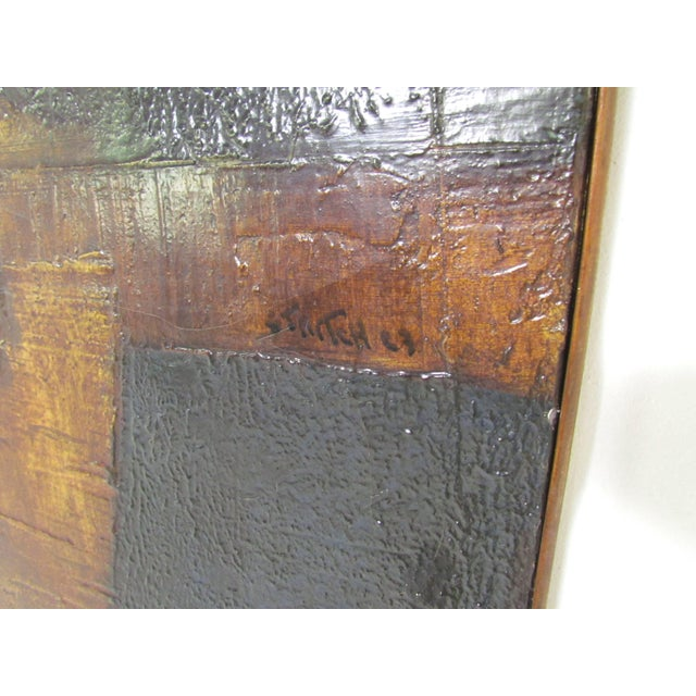 Canvas Brutalist Abstract Modernist Painting by Berkshire Artist John Stritch, 1963 For Sale - Image 7 of 10