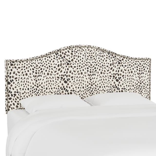 Textile Queen Headboard, Washed Cheetah Cream Grey For Sale - Image 7 of 7
