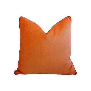 "Custom Tailored Tangerine Orange Velvet Feather/Down Pillows 24"" Square - Pair Preview"