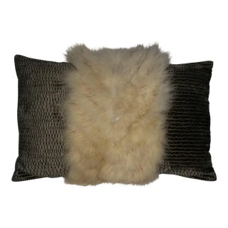 Contemporary White Fox and Silvery Green Velvet Lumbar Pillow For Sale