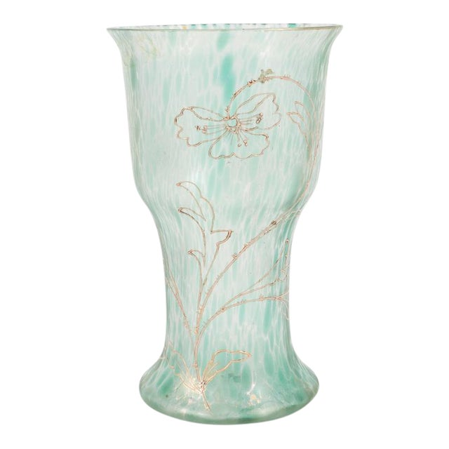 Art Nouveau Austrian Art Glass Vase in Green Iridescent and Gold Relief Vine For Sale
