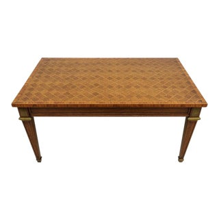 Cocktail Table 1940s Louis XVI Style With Parquet Top and Bronze Frame From Guildhall Toronto For Sale