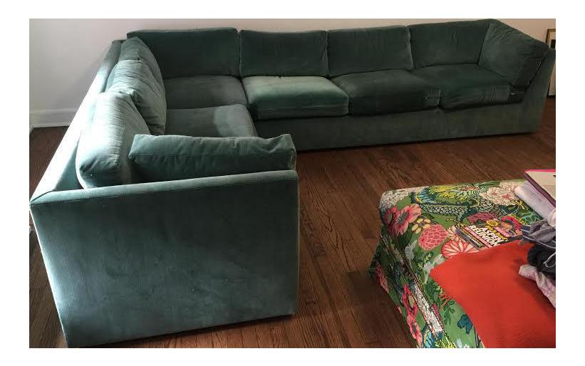 Green Velvet Sectional Sofa