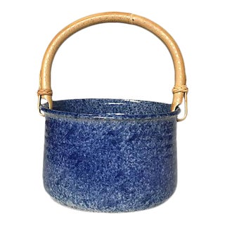 Ceramic Catchall With Bamboo Handle For Sale