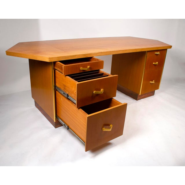 1950s Custom Designed Frank Lloyd Wright Double Pedestal Desk for the Price Tower For Sale - Image 5 of 7