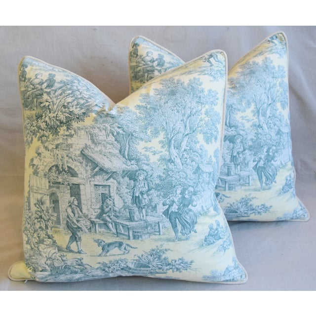 """Cotton French Farmhouse Country Toile Feather/Down Pillows 24"""" Square - Pair For Sale - Image 7 of 13"""