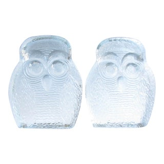 1960s Blenko Art Glass Owl Bookends - a Pair For Sale