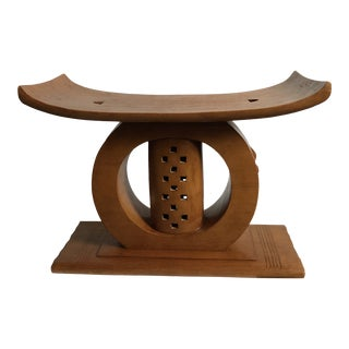 Mid Century Hand Carved Ashanti Stool For Sale