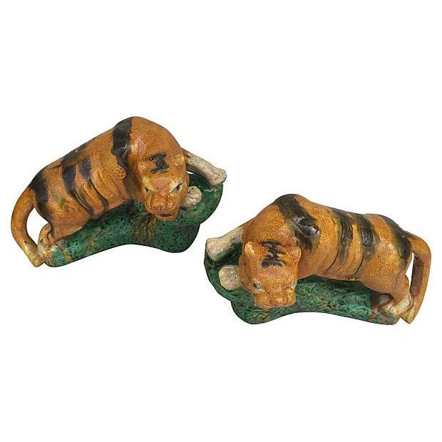 Majolica Glaze Terracotta Tigers - A Pair For Sale - Image 5 of 6