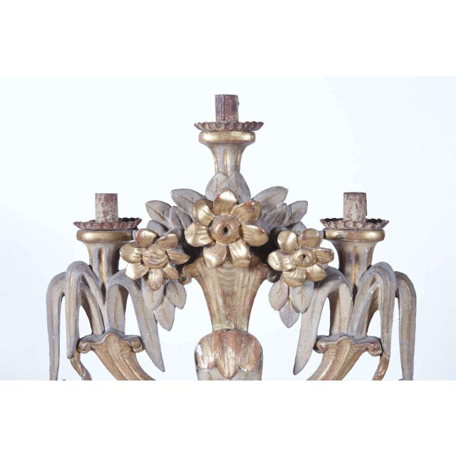 Large 18th Century Italian Carved Painted and Gilt Three-Arm Candelabra - Image 3 of 10