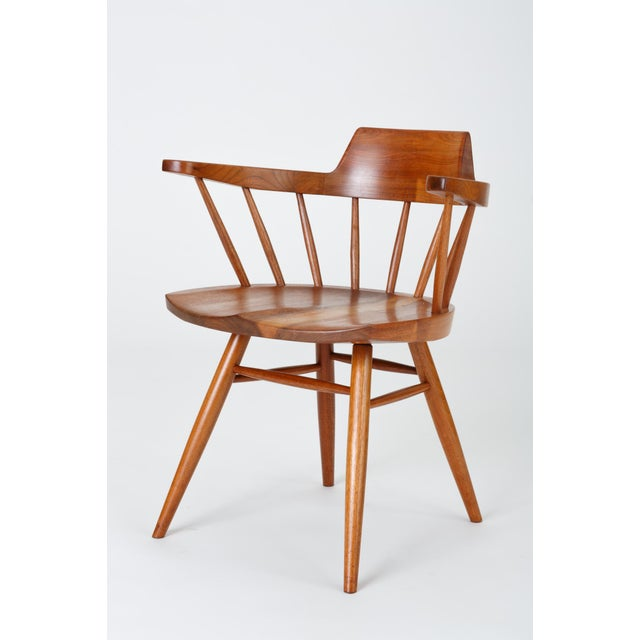 Brown Single Black Walnut Captain's Chair by George Nakashima Studio For Sale - Image 8 of 13