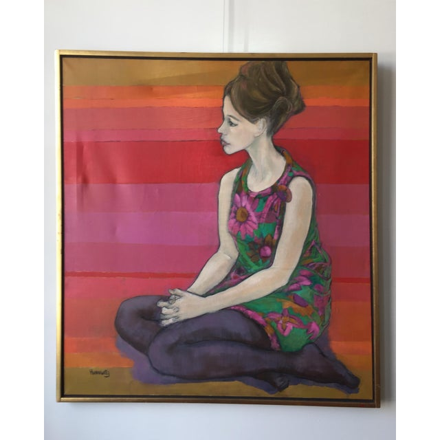 Late 20th Century 1960's Mod Girl Portrait Painting by Florence Hurewitz For Sale - Image 5 of 5