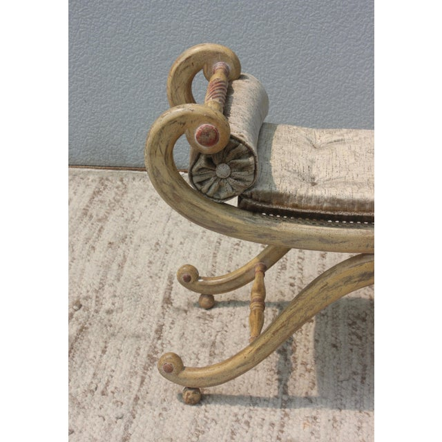 1940s French Scroll Arm Bench For Sale - Image 4 of 13